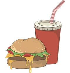 Cartoon fast food hamburger and a drink vector