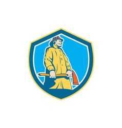 Fireman Firefighter Standing Axe Shield Retro vector image