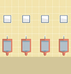 Flat Design Mens Urinal Row vector image
