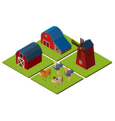 3d design for farm scene with barns and animals vector
