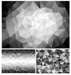 Black and white low poly backgrounds set vector