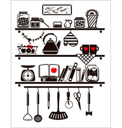 Food and drinks icons set drawn up as kitchen vector