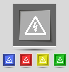 Voltage icon sign on original five colored buttons vector