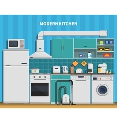 Modern kitchen background vector