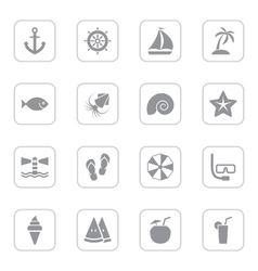 Gray flat summer icon set rounded rectangle frame vector