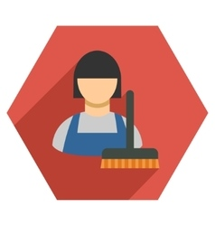 Cleaning staff flat hexagon icon with long shadow vector