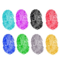 8 Colored Fingerprints vector image