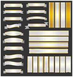 Set silver ribbons and banners with gold vector