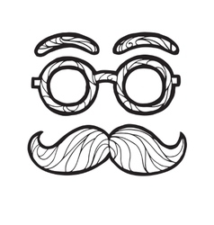 Sketch male mustache vector