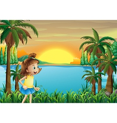 A young girl playing near the river vector image vector image
