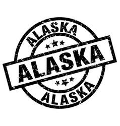 alaska black round grunge stamp vector image