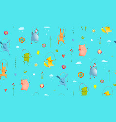 Animals jumping rope seamless pattern background vector