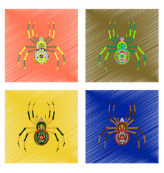 Assembly flat shading style icon halloween spider vector