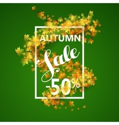 Autumn sale with yellow maple leaves vector