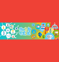 Back to school greeting colorful banner with vector