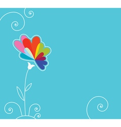 blue background with flower vector image