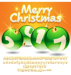 Bright merry christmas 2017 greeting card vector