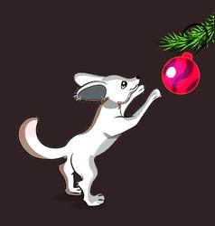 Cartoon little fox decorate cristmas tree vector