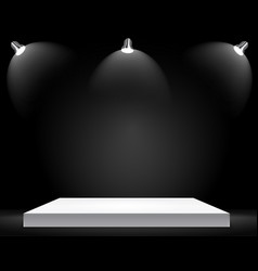 exhibition concept white empty shelf stand wit vector image