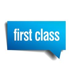 First class blue 3d realistic paper speech bubble vector