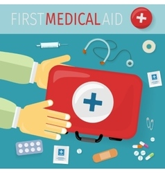 First medical aid kit and its content equipment vector