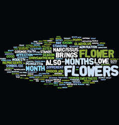 Flowers of the months text background word cloud vector