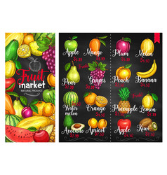 Fruit chalk sketches blackboard poster template vector