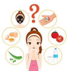 Girl with pimples on her face and skin face icons vector