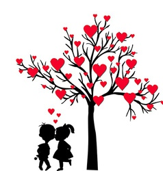 Greeting Valentines Day card with tree of hearts vector image vector image