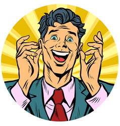 happy man pop art avatar character icon vector image vector image