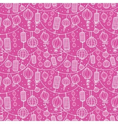 Holiday lanterns line art seamless pattern vector image