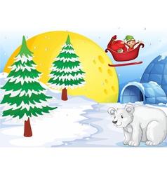 Igloo polar bear and moon vector
