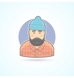 Lumberjack man with beard hipster woodman icon vector image