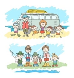 Mom dad and childrens happy family sketch vector