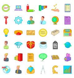 Online marketing icons set cartoon style vector