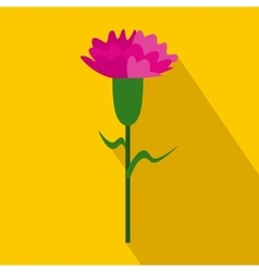 Pink carnation icon flat style vector