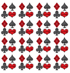 Playing cards four suits spades hearts clubs vector