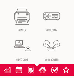 Projector printer and wi-fi router icons vector