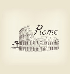 rome city view landmark coliseum sign travel vector image