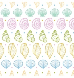 Seashells stripes line art seamless pattern vector image vector image