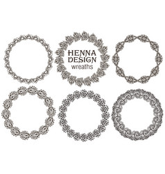 set of henna floral frames vector image