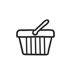 Shopping basket sketch icon vector