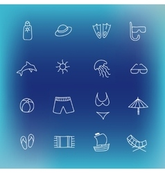 Summer icon set hand drawn design element vector image vector image