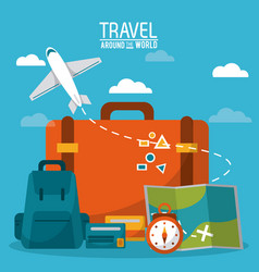 Travel around the world luggage plane time credit vector