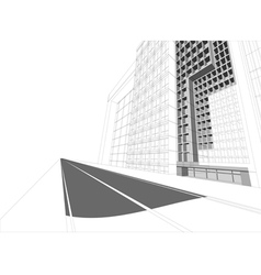 Wireframe building cityscape vector