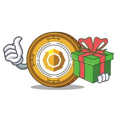 With gift komodo coin mascot cartoon vector