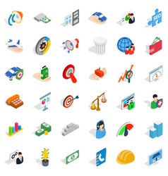 Working idea icons set isometric style vector