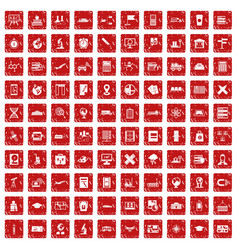 100 globe icons set grunge red vector