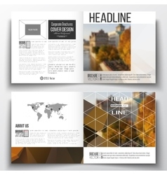 Set of square design brochure template Polygonal vector image