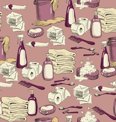 Seamless pattern with sketches of hygiene elements vector